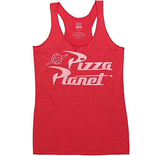 Toy Story Pizza Planet Juniors Racerback Tank Top - Red (X-Small)
