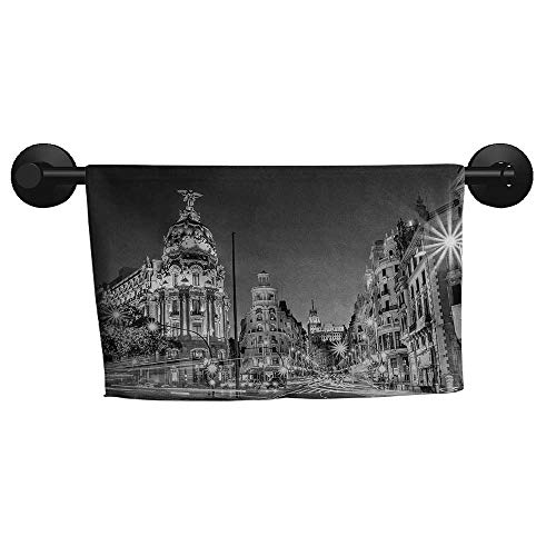 alisoso Black and White,Wash Towels Madrid City at Nighttime in Spain Main Street Ancient Architecture Eco-Friendly W 35