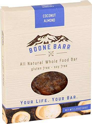 BOONE BARR Whole Food Bar, Coconut Almond, 2.25 oz (Pack of 12)