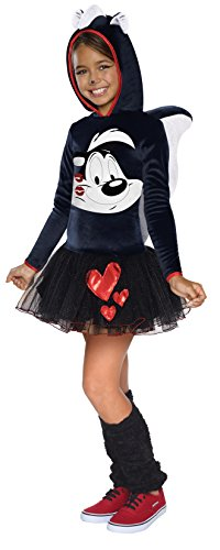 Looney Tunes Pepe Le Pew Girls Hooded Costume, Child's Medium