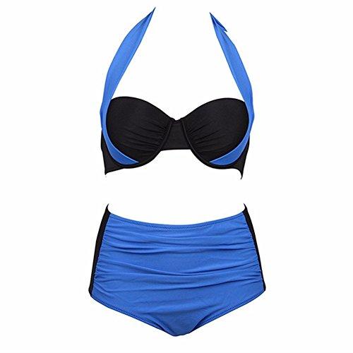 Uskincare Traje de Baño Mujer Altura de la Cintura Bañador con Tirantes Playa Mar Verano 9-Zafiro Azul