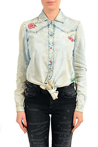 Just Cavalli Linen Blue Embellished Button Down Women's Shirt US S IT 40 Cavalli Linen