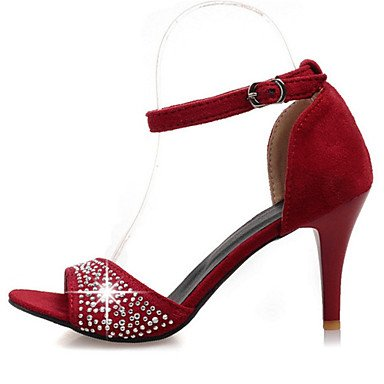 LvYuan Mujer-Tacón Stiletto-Zapatos del club Innovador-Sandalias-Informal Fiesta y Noche Vestido-Terciopelo-Negro Rojo Green