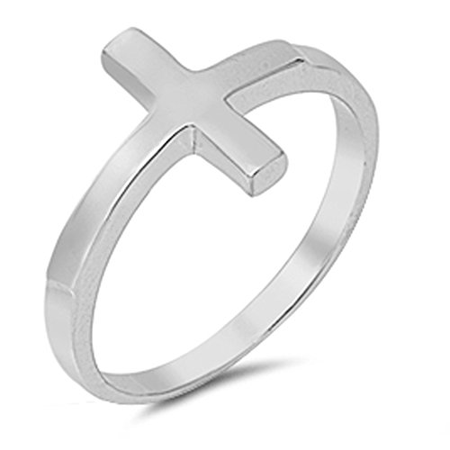 Sterling Silver Women's Sideways Cross Ring Fashion 925 Band 13mm Size 7