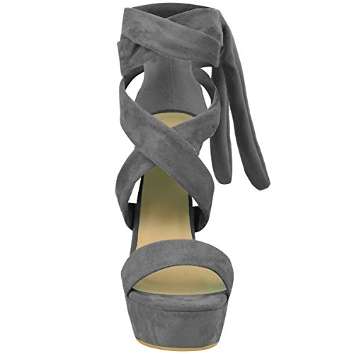 Fashion Thirsty Womens Tie Lace Up Ankle High Heels Block Platforms Party Open Shoes Size Grey Faux Suede R02bnxTJX