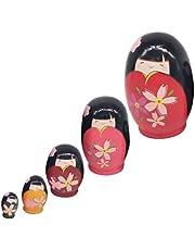 EXCEART 5 stuks Russische poppen om te nesten, kleurrijke Matrjoschka-pop, houten pop, speelgoed, cadeau, pop om te nesten, meisjes, stapelbaar, collecties: