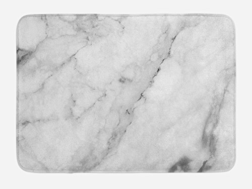 Ambesonne Marble Bath Mat, Granite Surface Motif with Sketch Nature Effect and Cracks Antique Style Image, Plush Bathroom Decor Mat with Non Slip Backing, 29.5