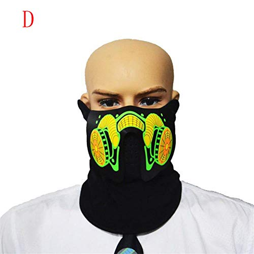 Unpara Halloween LED Mask Easter Rave Mask Luminous Costume Mask Easter Decor Party Bar (D) -