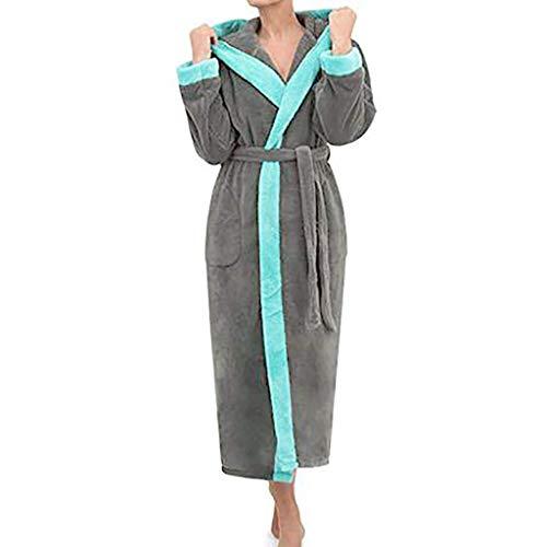 - Women's Robe Winter Hooded Lengthened Long Sleeved Plush Shawl Bathrobe Kimono Robe Dark Gray