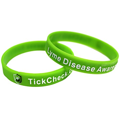 TickCheck Lyme Disease Awareness Silicone Bracelets - Lime Green Wristbands (25 Pack)