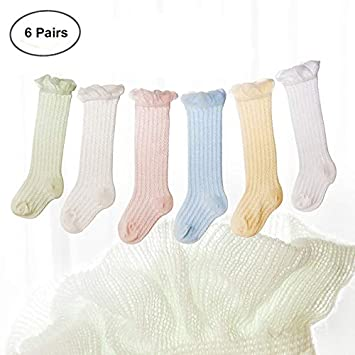 ThreeH Baby Thigh High Socks Cotton Stockings Breathable Infant Thin Mesh Long Socks BH25 S(6 Pairs) H-BH25 S
