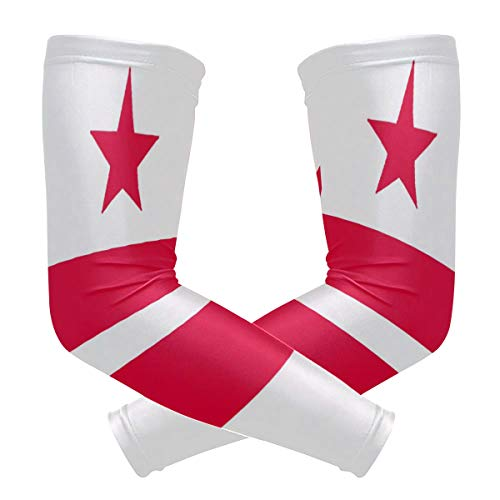 Quick Dry Arm Sleeve for Men Washington Dc Flag for Sports Workout Bicycle Race with Novelty -