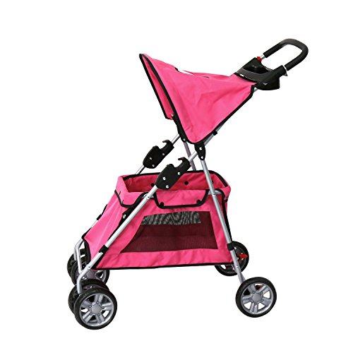 Kinbor 4 Wheel Pet Stroller, Cat Dog Walk Travel Foldable Folding Carrier Strolling Cart (red)