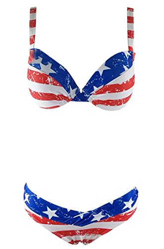 Generic Women Star Striped Print Halter Bikini Set Swimsuit Swimwear As picture M - Confederate Flag Swimwear