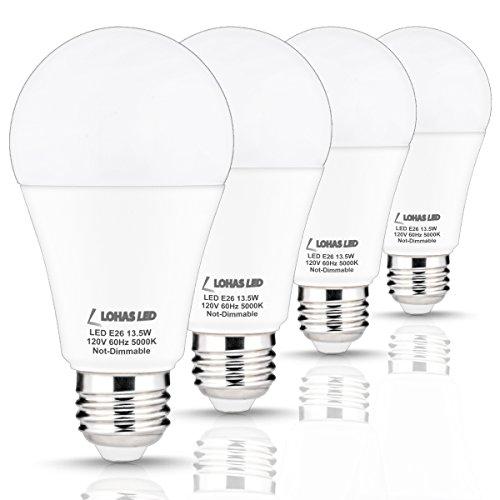 Daylight Uv Lamps (LOHAS LED Light Bulb 100 Watt Equivalent, A19 Bulb 13.5W, LED Lights Bulbs Daylight (5000K), 240 Degree Beam Angle, Medium Base E26 Light Bulbs, 1200Lm LED Lamps, LED Bulbs for)