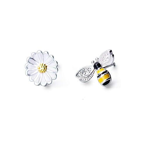 Amazon.com: Aretes de plata de ley con diseño de abeja y ...