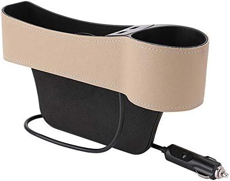 YAzNdom Auto Veranstalter Auto-Sitz Gap Box Crevice Organizer Pocket Dual USB-Becherhalter PU-Leder Geeignet für Autos (Color : Beige, Size : 27x8.5x14.5cm)