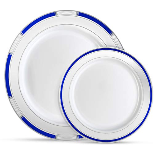 Laura Stein Designer Dinnerware Set | 64 Disposable Plastic Party Plates | Plates with Blue Rim & Silver Accents | Includes 32 x 10.75