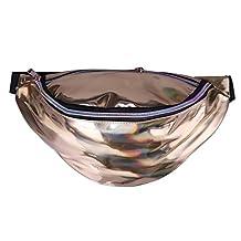 XMCOWAYOU Iridescent Hologram Fanny Pack Travel Sport Waist Bag for Teenage Girls