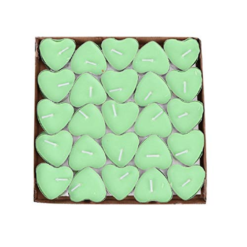 Yalulu 50 Pack Romantic Heart Shaped Smokeless Tealight Candles Tea Lights Candles for Home Decor, Wedding, Birthday, Valentine's Day (Green)
