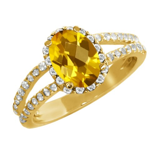 1.73 Ct Oval Checkerboard Yellow Citrine White Sapphire 14K Yellow Gold Ring