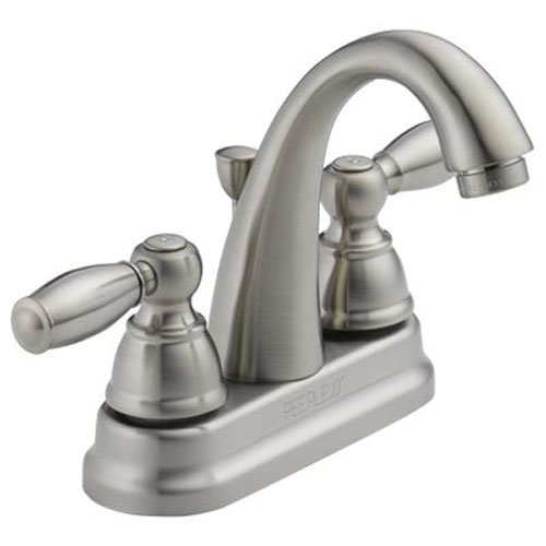 - Peerless Claymore 2-Handle Centerset Bathroom Faucet with Pop-Up Drain Assembly, Brushed Nickel P299685LF-BN