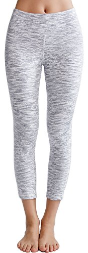 Oalka Women's Yoga Capris Power Flex Running Pants Workout Leggings White XS