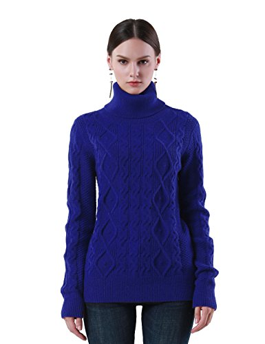 PrettyGuide Women's Turtleneck Sweater Long Sleeve Cable Knit Sweater Pullover Tops M Blue