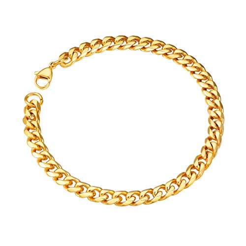 ChainsPro Mens Cuban Bracelet Gold Plated Heavy Bracelet 6mm 21CM Bangle (Gold Plated Heavy Chain Bracelet)