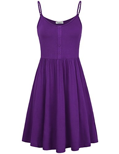 SUNGLORY Women's Adjustable Strappy Dress Skater Pleat Dress with Button Placket (Small, Purple)