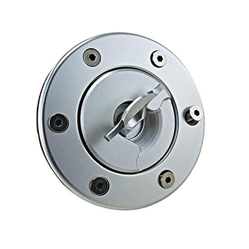 Flush Mount Gas Cap (Mirror Polished Aluminum Billet Fuel Cell Cap Fuel Surge Tank Cap Flush Mount 6 Bolt Open ID 35.5mm)