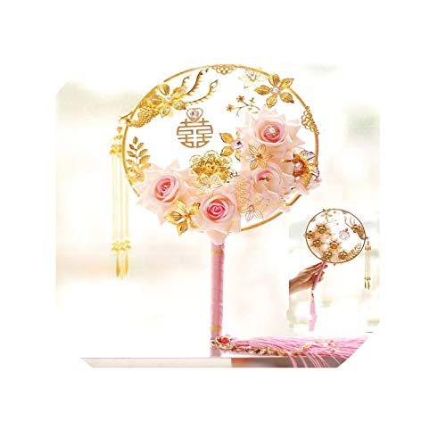 (Red Pink Gold Wedding Bouquets Brooches Pearl Rose Artificial Chinese Style Round Hand Fan Bridal Flower)