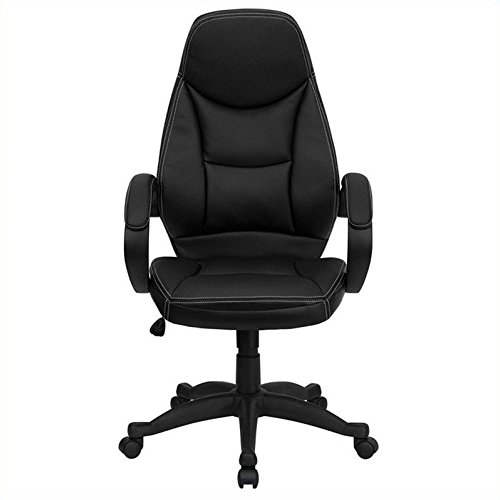 Flash Furniture High Back Black Leather Contemporary Executive Swivel Chair with Arms (Super Discount Furniture)