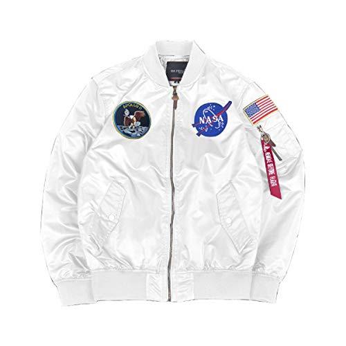 CORIRESHA Mens Apollo NASA Patches Slim Fit Bomber Jackets Windbreaker White