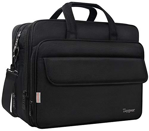 17 Inch Laptop Bag, Large Briefcase for Men Women, Expandable Business Attache, Taygeer Water Resitant Computer Messenger Shoulder Bags, Carry On Handle Travel Case for 17