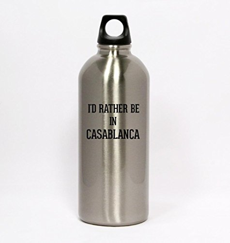 I'd Rather Be In CASABLANCA - Silver Water Bottle Small Mouth (Casablanca Bar)