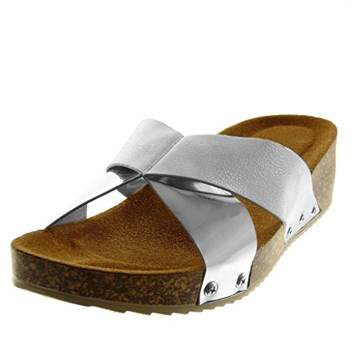 Angkorly Women's Fashion Shoes Sandals Mules - Slip-On - Bi Material - Studded - Cork - Shiny Wedge 4.5 cm Silver
