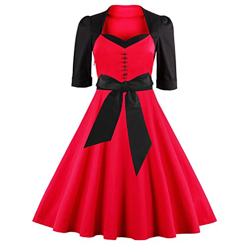 Killreal-Womens-Half-Sleeved-Sexy-Vintage-1950s-Valentine-Cocktail-Party-Dress