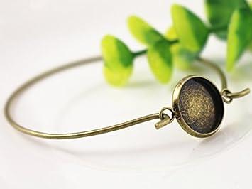 12mm Silver Plated DIY Bangle Base Bracelet Blank Findings Setting Cabochon Cameo 2pcs