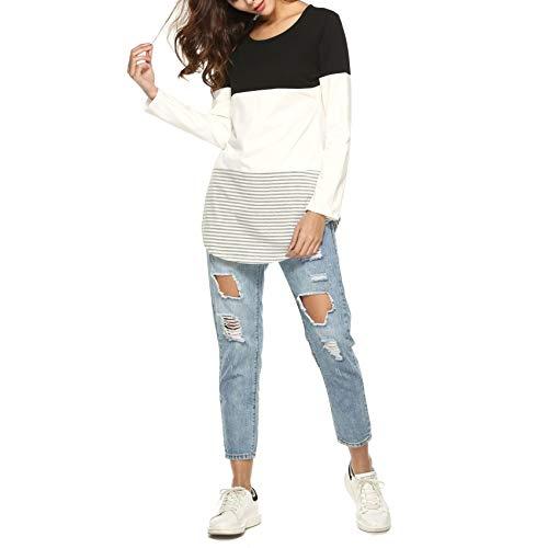 T Lunghe Camicia Nero Casual Maglia Maniche Shirt Primavera Maglietta Autunno Donna GODGETS gz7wXq8c