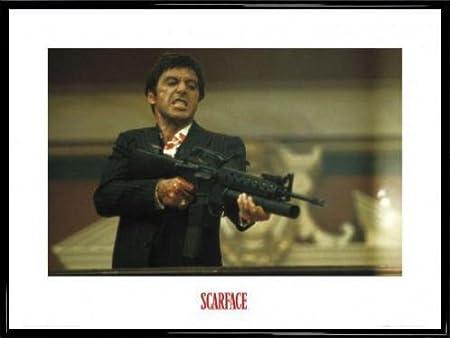 Scarface Poster Art Print And Frame Plastic Machine Gun 32 X 24