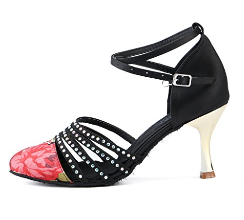 Black High Shoes Wedding Heel Dance Womens Evening 01 Shoes Latin Meijili Satin Ballrom PawAaq