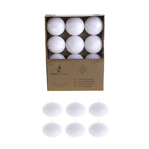 Mega Candles - Unscented 1.5' Floating Disc Candles - White, Set of 12