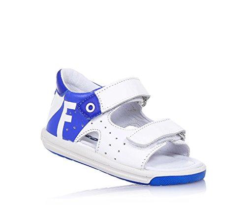 FALCOTTO - Sandalia blanca y azul de cuero, ideal para los primeros pasos y para el gateo, Niña, Niñas