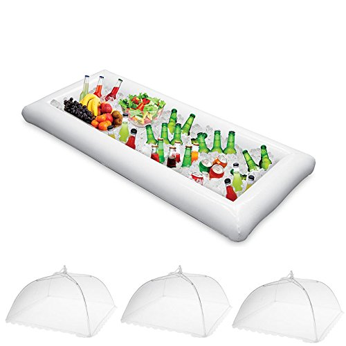 (Jetloter Inflatable Serving Bar Salad Ice Tray Food Drink Containers Pop-up Mesh Screen Food Cover Tent BBQ Picnic Pool Party Supplies Buffet Luau Cooler)