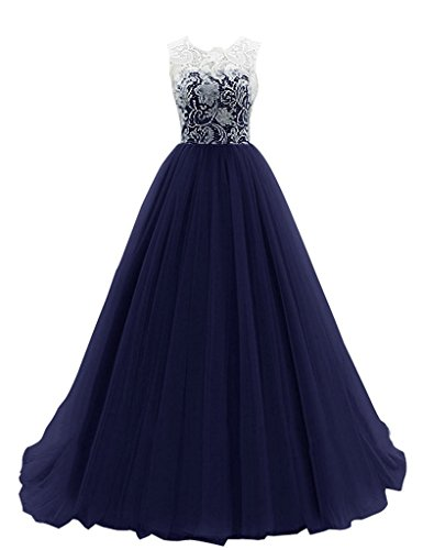 JAEDEN Una l¨ªnea Tul Vestidos de baile largo Vestido de fiesta Vestido de dama de honor Azul marino