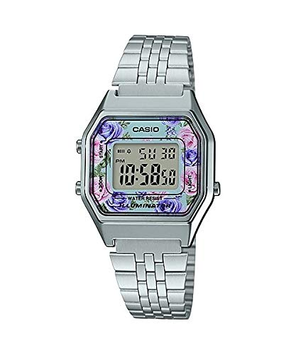 Casio LA680WA-2C Women's Vintage Floral Dial Alarm Chronograph Digital Watch (Watch Floral Dial)