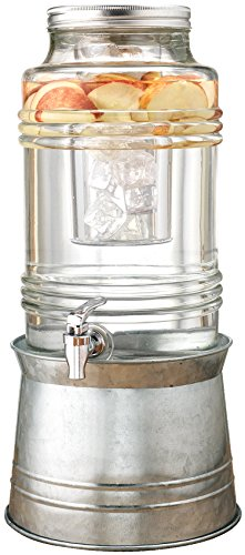 Circleware Breeze Glass Beverage Drink Dispenser with Stand Metal Base which Transforms to Metal Ice Bucket and Metal Lid + Fruit Infuser + Chrome Finished Spigot, HUGE 2.3 Gallons (Events Breeze)