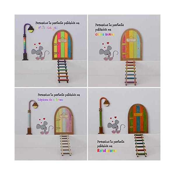 Kit ratoncito Pérez de Vinilo con Puerta, farola y Escalera de Madera para Pintar y Personalizar 6