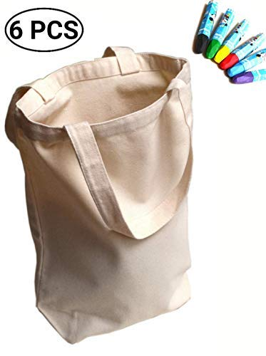 (UpBrands Canvas Tote Bag DIY Kit 6 Pack Pure Color Suitable for Party Favors, Gift, Goodie Bags, Small Shopping Grocery (Sturdy 10 Oz), Mother's Day and Teacher's Gift)